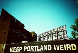 For more information than you thought you ever would have needed on the origins of this slogan, look no farther. http://en.wikipedia.org/wiki/Keep_Portland_Weird Image source: http://commons.wikimedia.org/wiki/File:Keep_Portland_Weird.jpg#mediaviewer/File:Keep_Portland_Weird.jpg