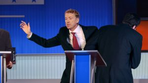 Thanks to The Onion of all places for an excellent image of Rand being escorted off of the debate stage due to falling poll numbers.  For more: http://www.theonion.com/article/rand-paul-escorted-stage-after-falling-below-25-mi-51820