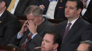 How Lindsey Graham feels about all this. Image via USA Today. http://www.usatoday.com/story/news/politics/onpolitics/2016/03/17/lindsey-graham-ted-cruz-donald-trump-republican-race/81918250/