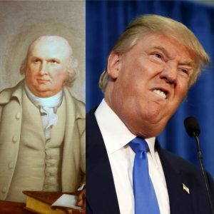 Did Robert Morris pave way for Donald Trump? You decide. Images via Wikipedia and Business Insider.