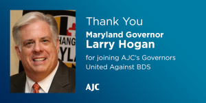 Maryland Governor Larry Hogan has taken a firm stance in opposition to BDS. Image via AJC.
