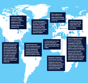 This map features just a few of the highlights that Oceana's report found about mislabeling around the world. They also have an interactive map that lets you see even more incidents http://usa.oceana.org/seafood-fraud/2016-global-reach-seafood-fraud. Image via Oceana.