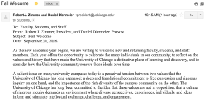 Screenshots from the email from President Robert Zimmer.