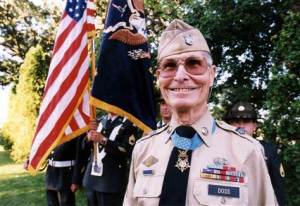 Desmond Doss with his Medal of Honor. Image via NBC.