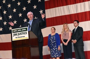 Jim Justice was helped in his election by the lengths he went to distance himself from Hillary Clinton and a relentless focus on the economy. Image via Washington Post.