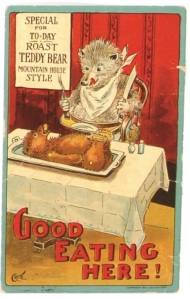 The campaign between Teddy and Billy got so fierce that some illustrators portrayed Billy as feasting on poor Teddy. Image via Anderson Americana.