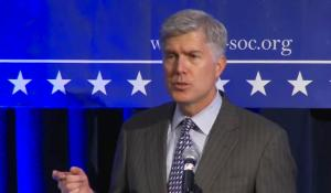 Neil Gorsuch at a Federalist Society event. Image via National Review.