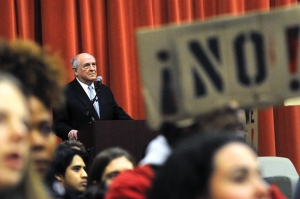 Charles Murray overlooks the protest at Middlebury. Image via Addison Independent.